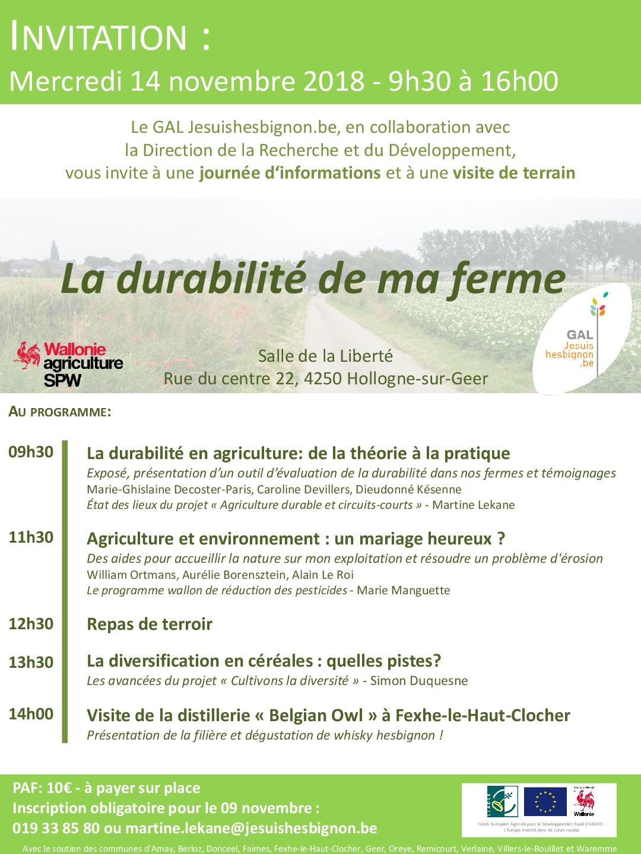 Invitation : «La durabilité de ma ferme»
